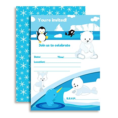 Arctic Friends Winter Birthday Party Invitations With Penguin Narwhal Whale Polar Bear And