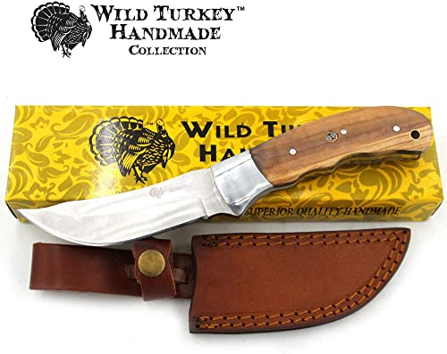 Wild Turkey Handmade Collection Fixed Blade Hunting Knife w Leather Sheath