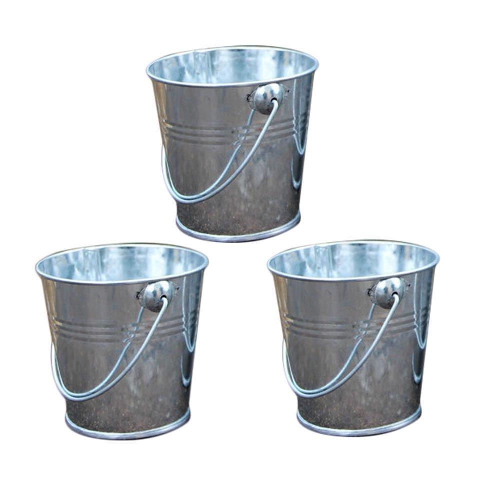 Vikenner 3 Piezas de Metal Mini Cubo de Caramelo favorece Caja Cubo Colgando Maceta para Regalos de Boda - Plata