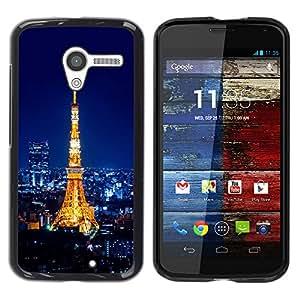 A-type Arte & diseño plástico duro Fundas Cover Cubre Hard Case Cover para Motorola Moto X 1 1st GEN I (Torre Eiffel Pari - Tour Eiffel)
