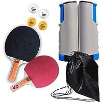 Juego de Tenis de Mesa, Juego de Raquetas de Ping Pong con 2 Palos/Paleta, 4 Pelotas, 1 Red de Tenis de Mesa retráctil, Juego de Ping-Pong portátil Ideal para Actividades al Aire Libre en Interiores
