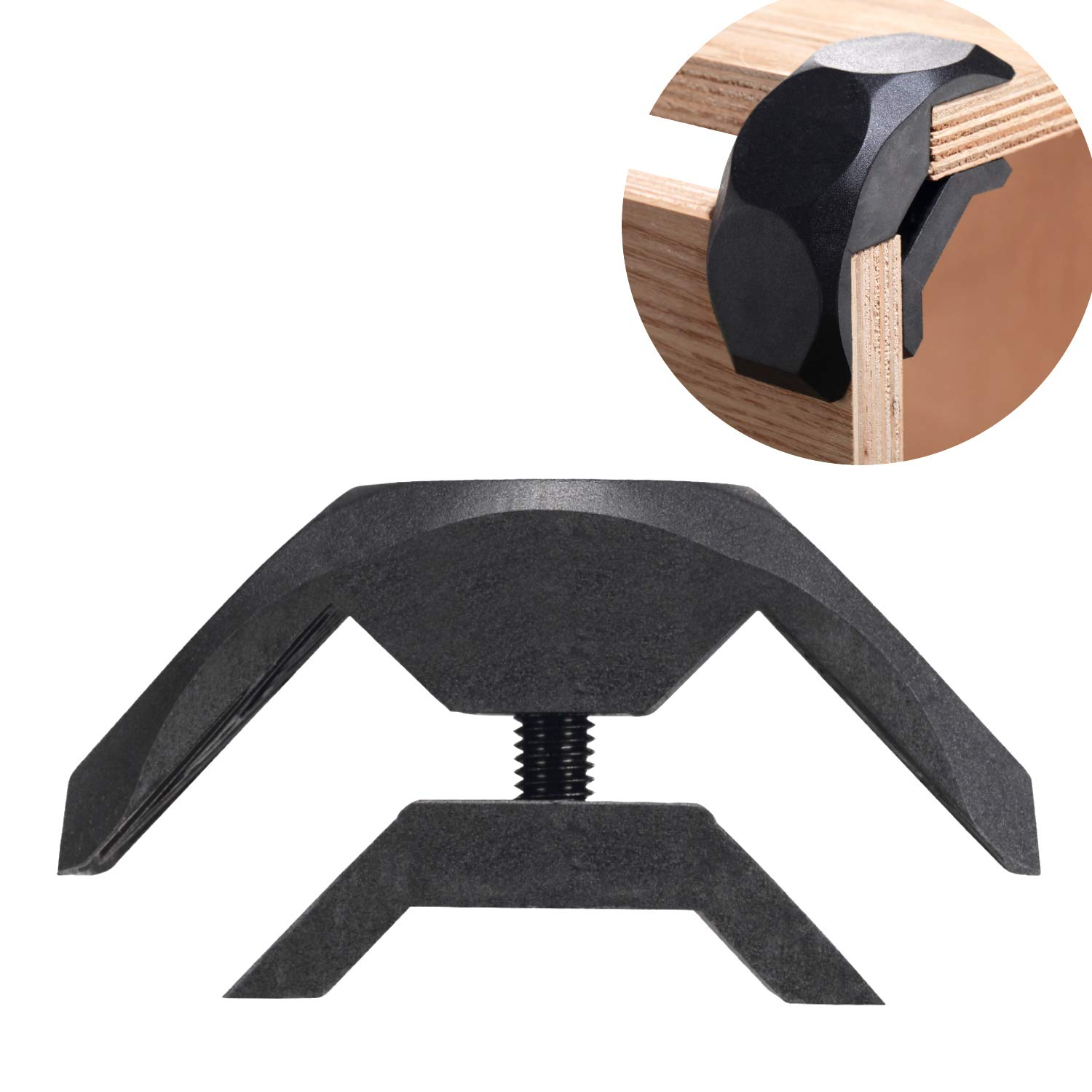 Modular Connectors Angle Clamp Board Joint System Plastic 2-Way 90°Set for Home Creative DIY Furniture Wood Shelves,Fit for 0.63'' to 0.75'' Thick Board (8 Pcs, Black)