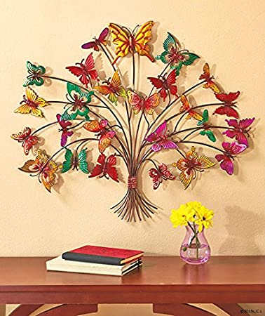 Amazon.com: Butterfly Tree Metal Wall Art Decoration (1): Home & Kitchen