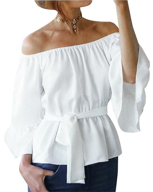 Mujer Camiseta Mangas Largas Volantes Blusa Playa Elegante Oficina Casual Blanco S