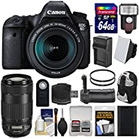 Canon EOS 6D Digital SLR Camera Body + EF 24-105mm IS STM & 70-300mm IS II USM Lens + 64GB Card + Backpack + Flash + Battery/Charger + Grip + Filters Kit
