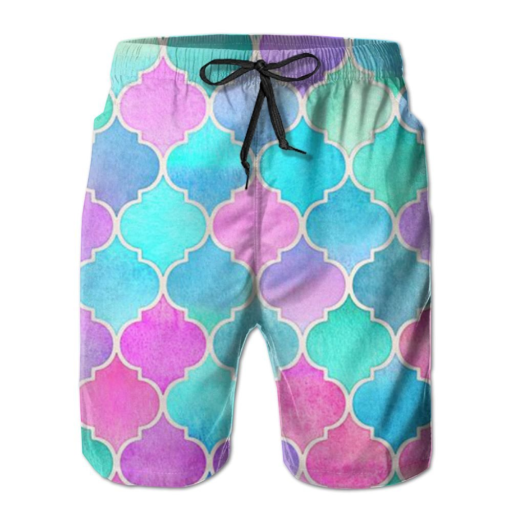QYKKJF Mens Colored Circles Summer Holiday Quick-Drying Swim Trunks Beach Shorts Board Shorts