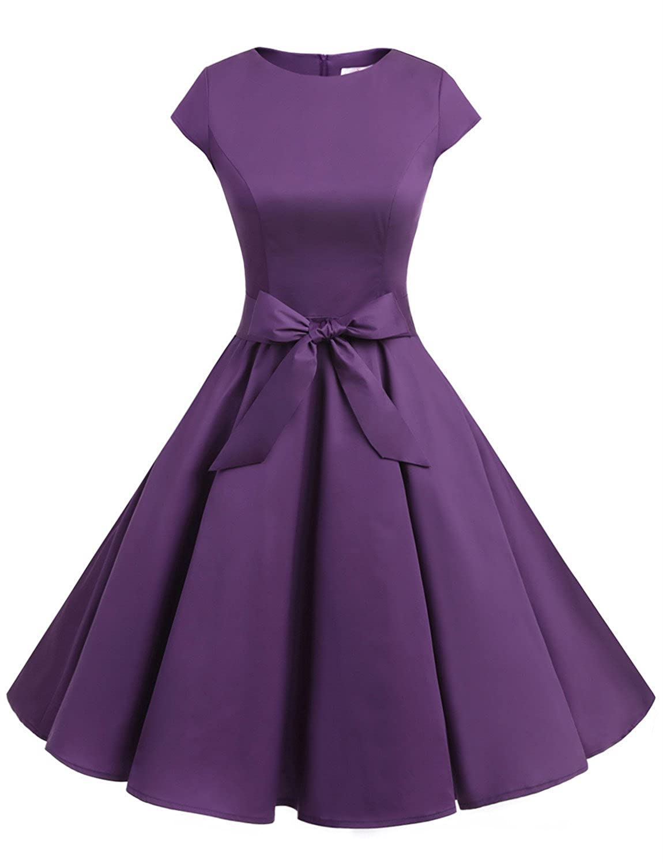 TALLA XL. Dressystar Vestidos Coctel Corto Vintage 50s 60s Manga Corta Rockabilly Elegante Mujer Purple XL