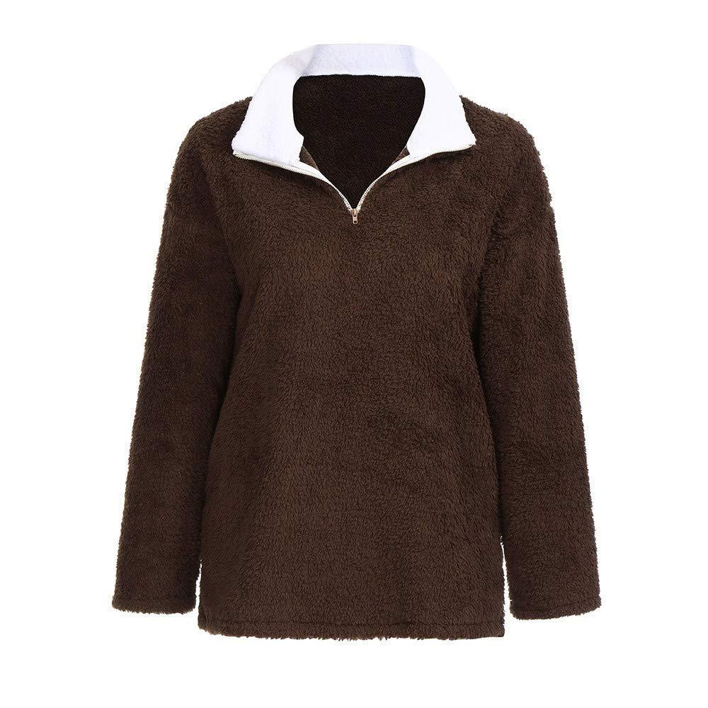 ❤ Sudadera de Piel sintética para Mujer, cálido y Esponjoso de Invierno sólido, con Cremallera Informal Jerseys Outwear Absolute: Amazon.es: Ropa y ...