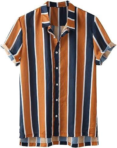 Camisas Hawaianas Hombre Manga Corta 2020 SHOBDW Playa de Verano Camisas Hombres Tallas Grandes Negocio Camisas Hombres A Rayas Slim Fit Botón Bolsillo Casual Blouse Tops: Amazon.es: Ropa y accesorios