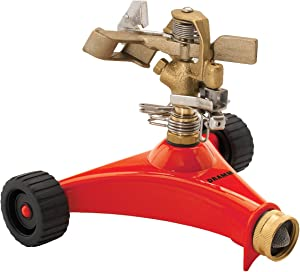 Dramm 15031 ColorStorm Premium Impulse Sprinkler with Heavy Duty Metal Wheeled Base, Red