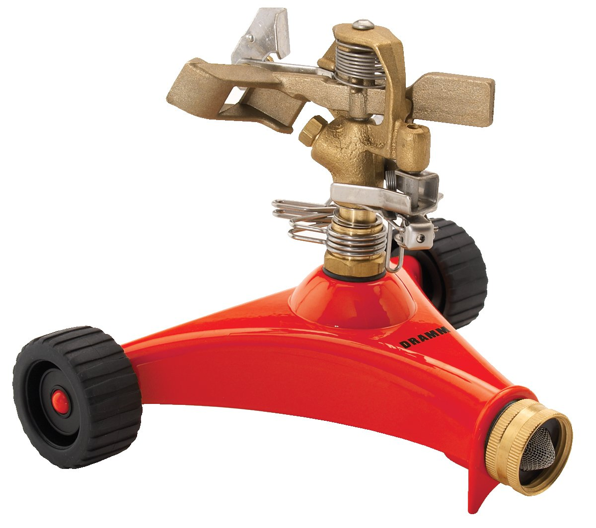 Amazon.com : Dramm 15031 ColorStorm Premium Impulse Sprinkler With Heavy  Duty Metal Wheeled Base, Red : Rotary Lawn And Garden Sprinklers : Garden U0026  Outdoor