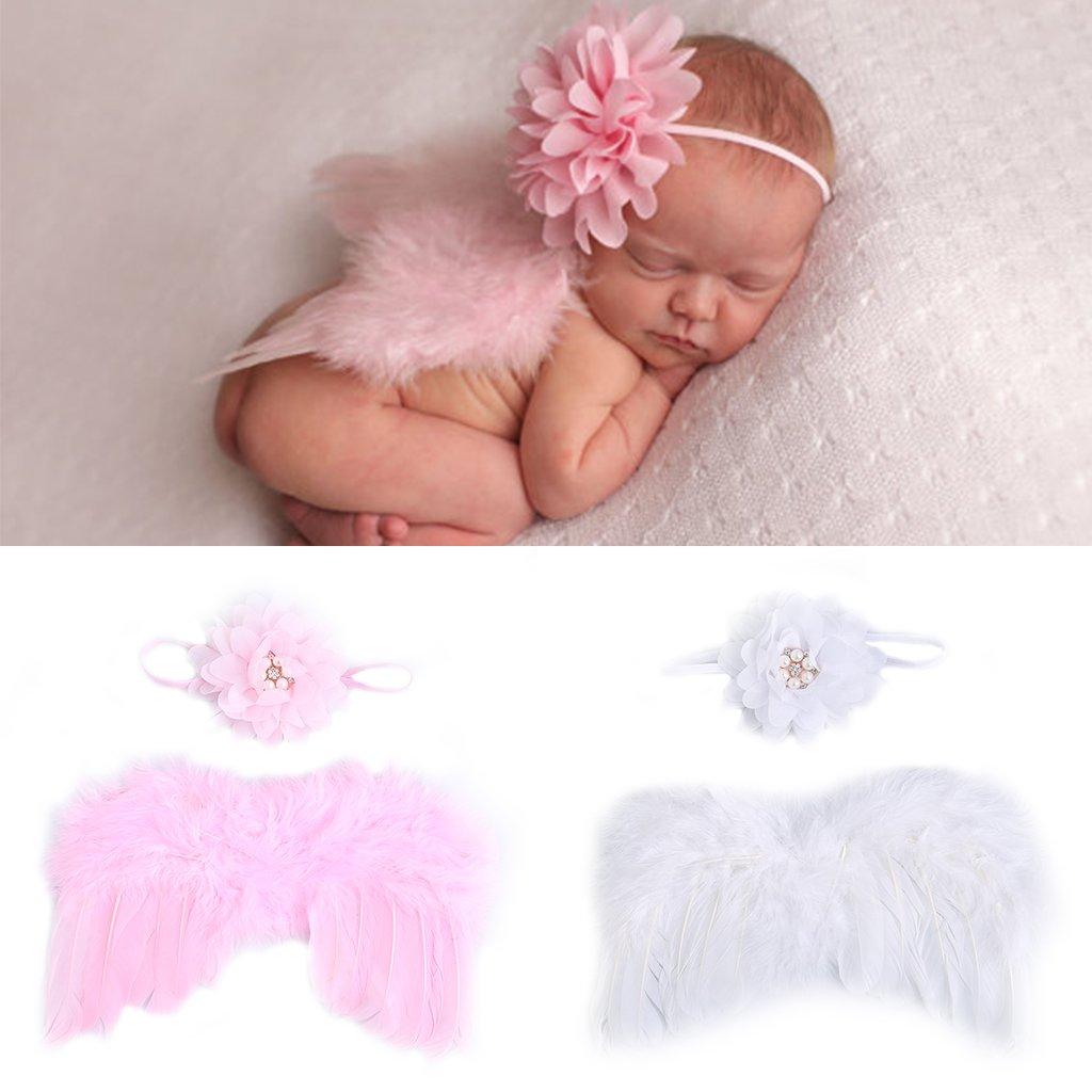 Amazon Com Abicial Newborn Baby Girl Boy Photography Prop Fashion Newborn Baby Photo Angel Costume Crochet Knit Costume Prop Photo Set Gift Baby