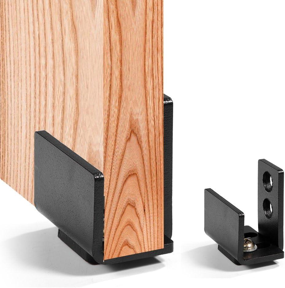 Guía del piso, guía inferior de la puerta de granero deslizante de acero al carbono negro Herrajes de pared con tornillos