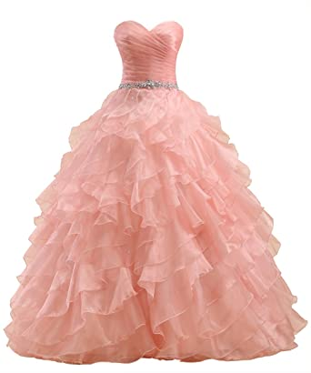 Callmelady Ball Gown Quinceanera Dresses Long Prom Dress For Sweet Sixteen Party (Peach, UK6