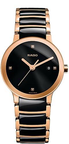 Reloj Rado Centrix para mujer, en cerámica negra, dorado y diamantes, R30555712.: Amazon.es: Relojes