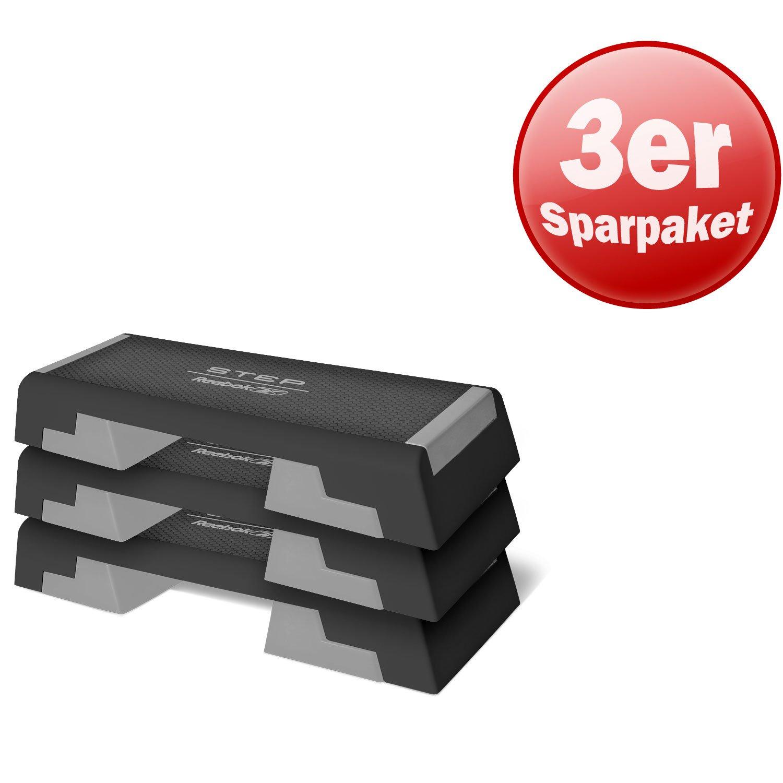 Reebok Step Stepbench 3er Set dreifach h/öhenverstellbar Trittfl/äche L 90 cm x B 35 cm Fitness Training Cardio