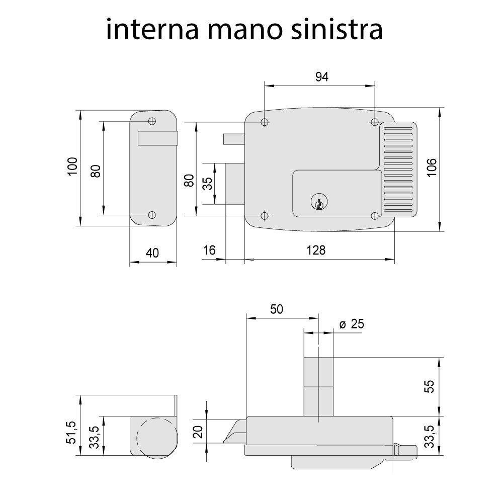 Galvanizado Entrata 80 Cisa 254569 Serratura Elettrica Applicare per Cancelli 12 V
