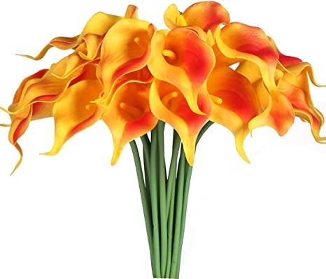 Artificial Flowers Wedding Flowers Yellow and Orange Calla Lily Stems Set of 12 Real Touch Artificial Calla Lily Fake Calla Lily