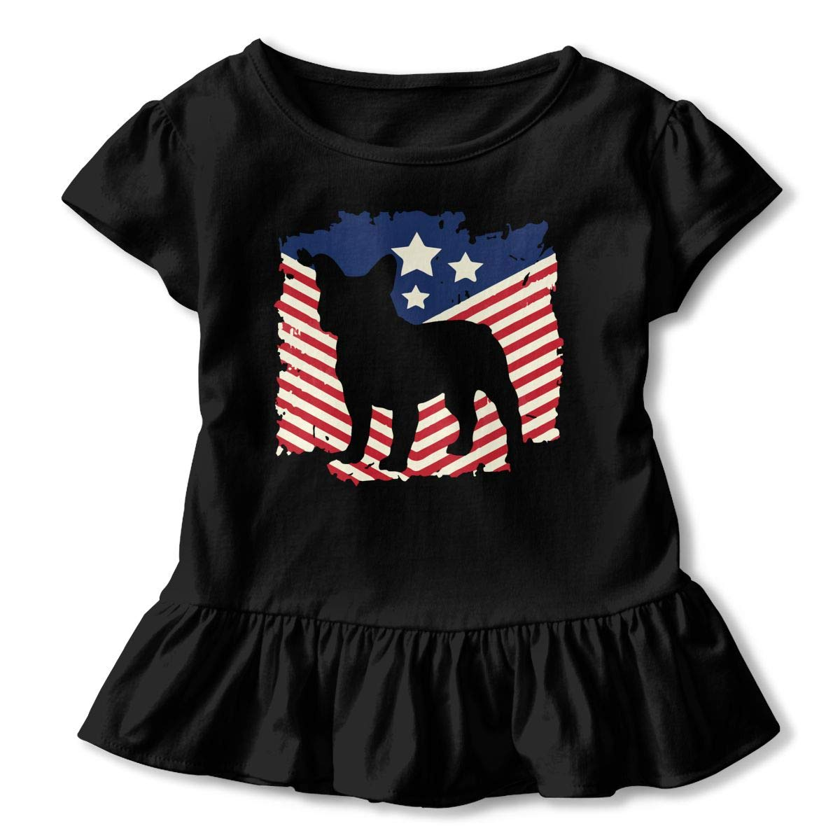 2-6 Years Vfbggg-Shirt Patriotic French Bulldog American Flag Baby Girls Short Sleeve Ruffle Tee Cotton Kids T Shirts