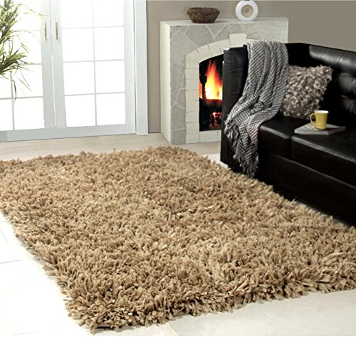 Hand Woven Solid Shag Patterned Area Rug, Featuring Classic Cozy Furry Themed, Rectangle Indoor Living Area Bedroom Entryway Hallway Carpet, Fashionable Bright Modern Rustic Style, Mocha Size 5' x 8'