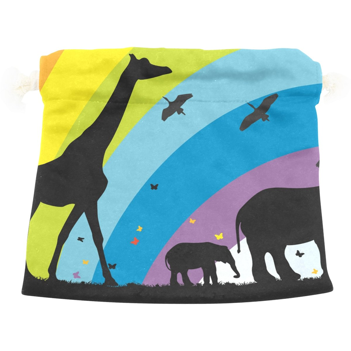 Dragon Sword Giraffe And Elephants In Africa Gift Bags Jewelry Drawstring Pouches for Wedding Party, 6x8 Inch