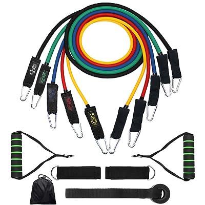 11pcs Lot de bandes de résistance d'exercices, Huyu Fitness Bandes de résistance avec ensemble de 5Tubes de différents niveaux de tension/poignées/crochet de porte/Sangles de c