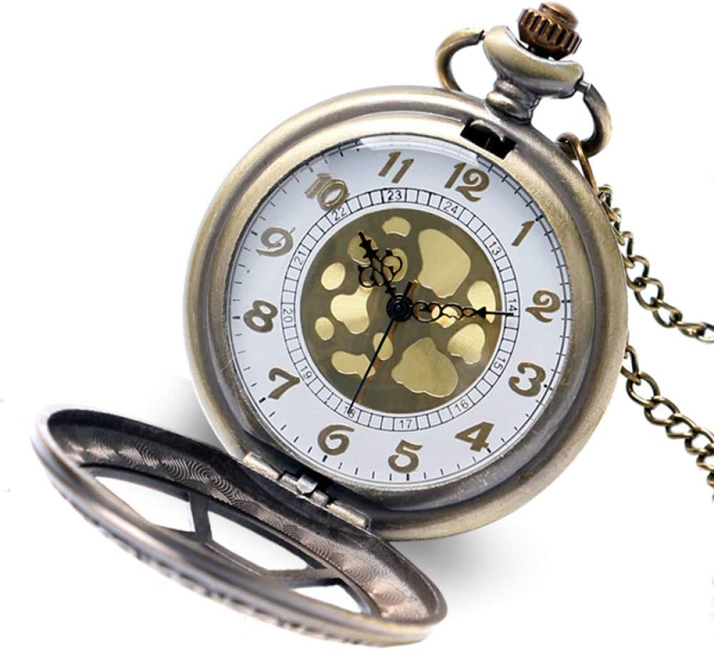 HBDML Reloj de Bolsillo Regalo Elegante de Moda Rejillas hexagonales Mujeres Hombres Reloj de Bolsillo Moderno de Moda Colgante Collar de Bronce Caliente