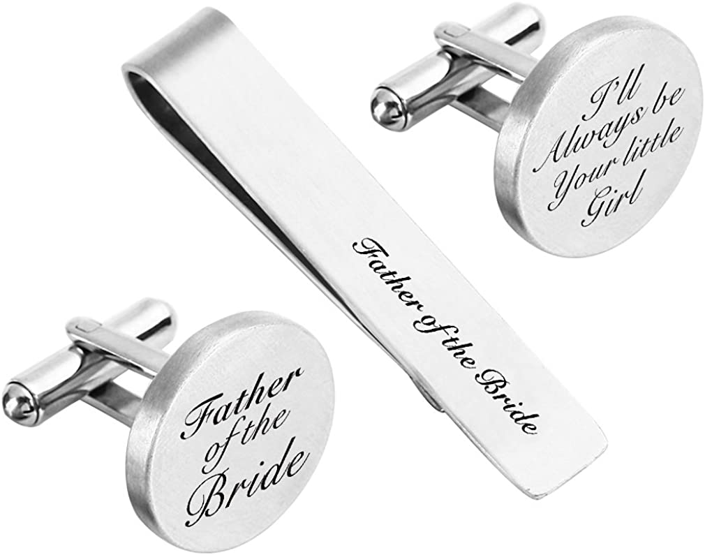 ZUNON Father of The Bride Cufflink Engraved Text Personalized Wedding Stepfather Stepdad Tie Clip Tack