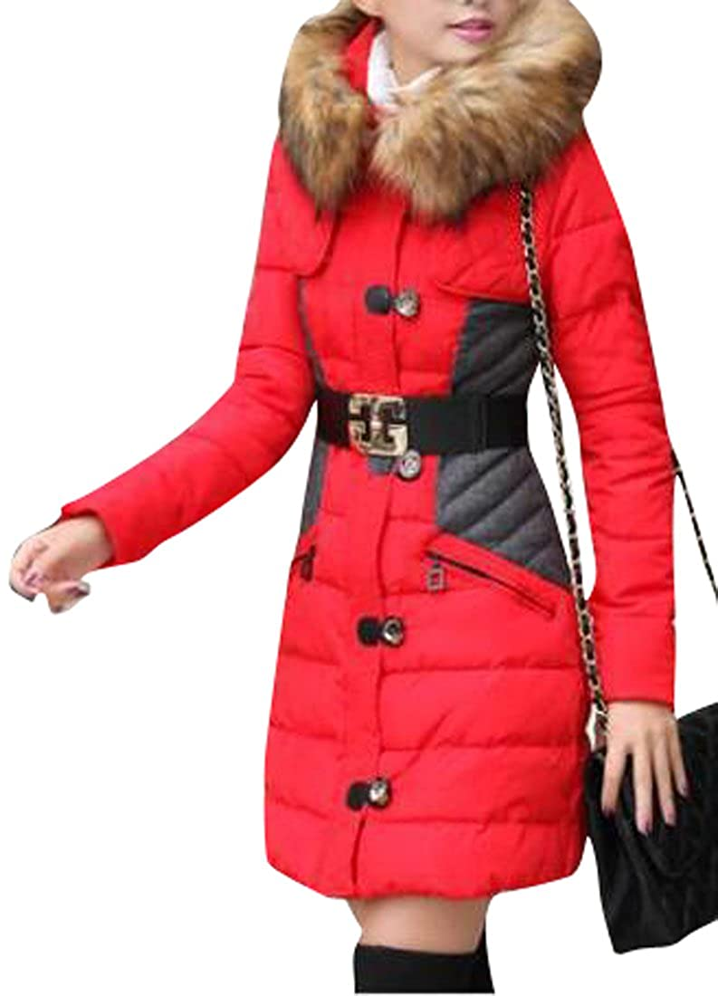 Oberora-Women Winter Color Block Faux Fur Hood Padded Coat Overcoat Parka with Belt