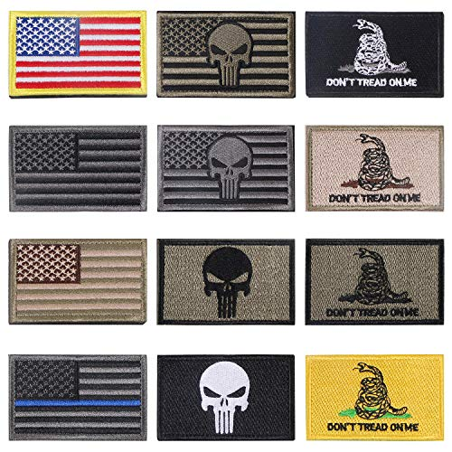 Bundle 12 Pieces American Flag Punisher Velcro Patches Tactical Military Morale Patch Set Velcro Patch by Aooba
