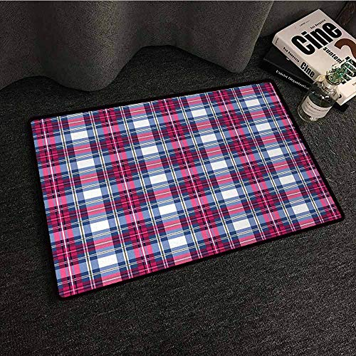 DILITECK Pet Door mat Plaid Classical British Tartan Design with a Modern Look Pink and Blue Tile Pattern Easy to Clean Carpet W24 xL35 Blue Pink Grey