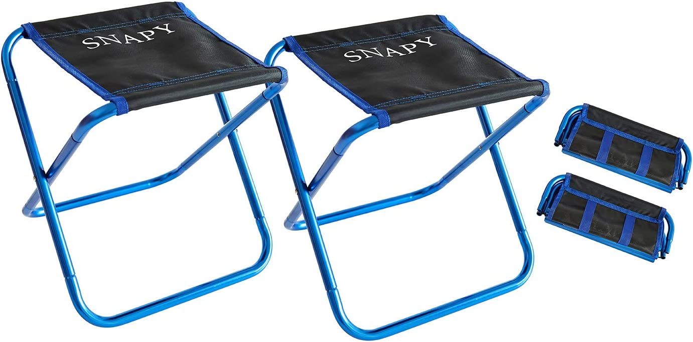SNAPY 2-Pack Mini Folding Camping Stool, Lightweight Camp Stool, Portable Folding Camp Chair, Outdoor Ultralight Camping Chair for BBQ, Camping, Fishing, Travel, Hiking 12 x11 x12.3 , Blue