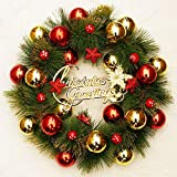 LightInTheBox Christmas Decoration Garlands Mistletoe Holly Wreaths Luxury Red Gold Artificial Greenery Spruce and Eucalypti Leaves Wreath Merry Christmas Decor (Green-01)