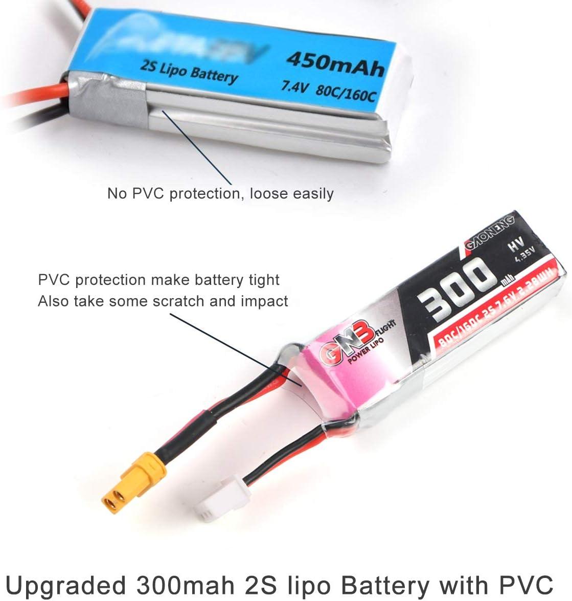 2pcs GAONENG 300mAh 2S 80C//160C 7.6V LiPo Battery HV 2S LiHv Battery with XT30 Plug for Micro FPV Racing Drone Brushless Quadcopter Like Trashcan Betafpv 75X