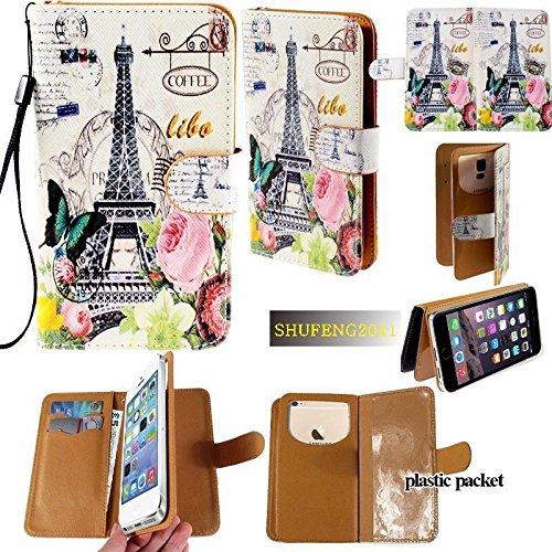 Universal PU Leather Purse/Clutch/Pouch/Wallet Fits Apple Samsung LG Motorola etc. Women's Cute Wristlet Strap Flip Case Paris Eiffel Tower Butterfly and Rose - Medium. Fits The Models ()