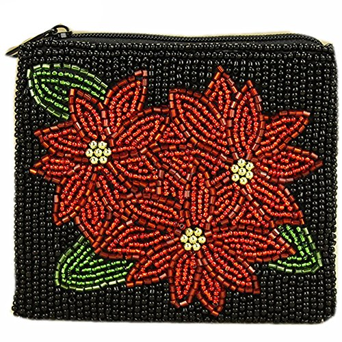 E.a@market Chinese Handmade Beaded Coin Purse Card Pouch Red Peony