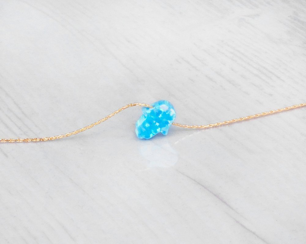 3 inch extending chain 13.5 inch 14k Gold Filled Opal Hamsa Choker Necklace Designer Handmade Minimalist Collar With Tiny Blue Hand