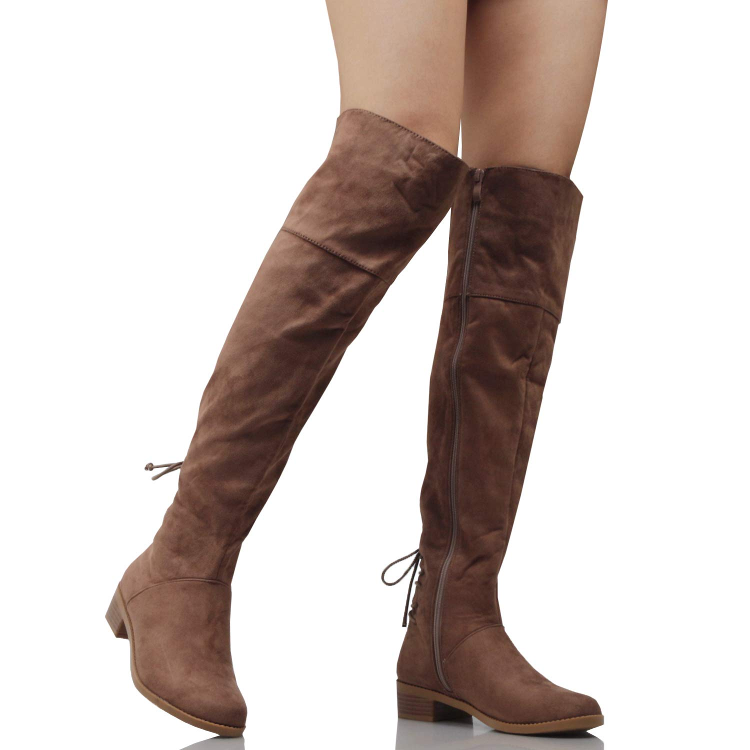 Guilty Heart | Womens Comfortable Lace Tie Over The Knee Thigh High Low Heel Boots