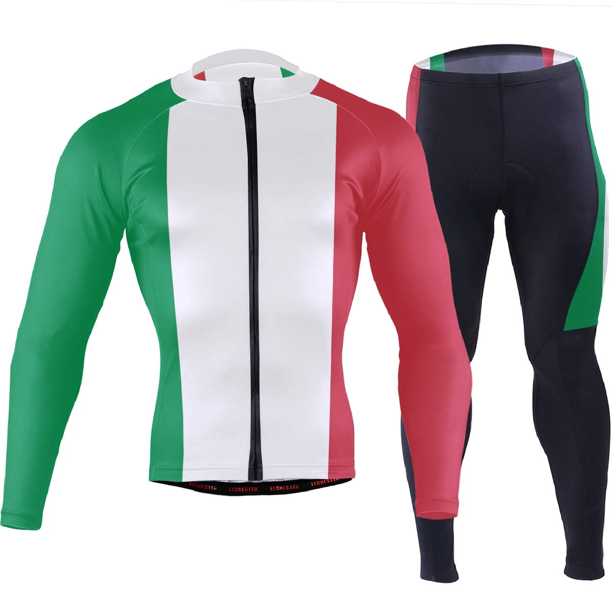 CHINEIN Men's Cycling Jersey Long Sleeve with 3 Rear Pockets Suit Italy Flag