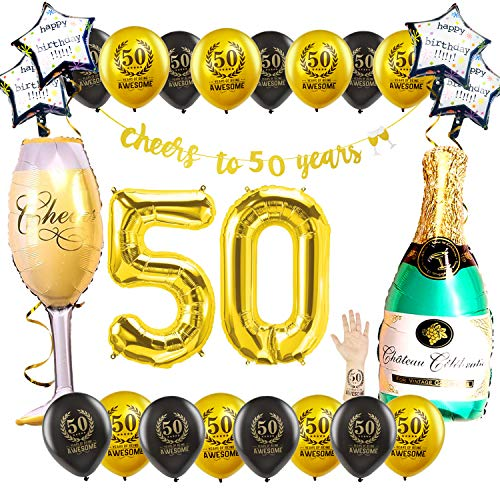50 Bday Party Decorations - My Happy 50th Birthday Decorations for Men Women, Wine Glasses Bottle Mylar Huge Balloon, 12 Inch Black Gold Printed Pearl Star Balloons, Cheers to 50 Years Banner Tattoo -