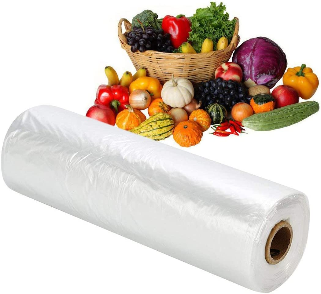 RBHK 12x16 Plastic Produce Bag on a Roll Clear Food Storage Bags, Pet Bags, Diapers Bags, One Roll 350 Bags (1 Roll)