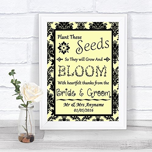 The Card Zoo Yellow Black Damask Plant Seeds Favours Personalized Wedding Sign