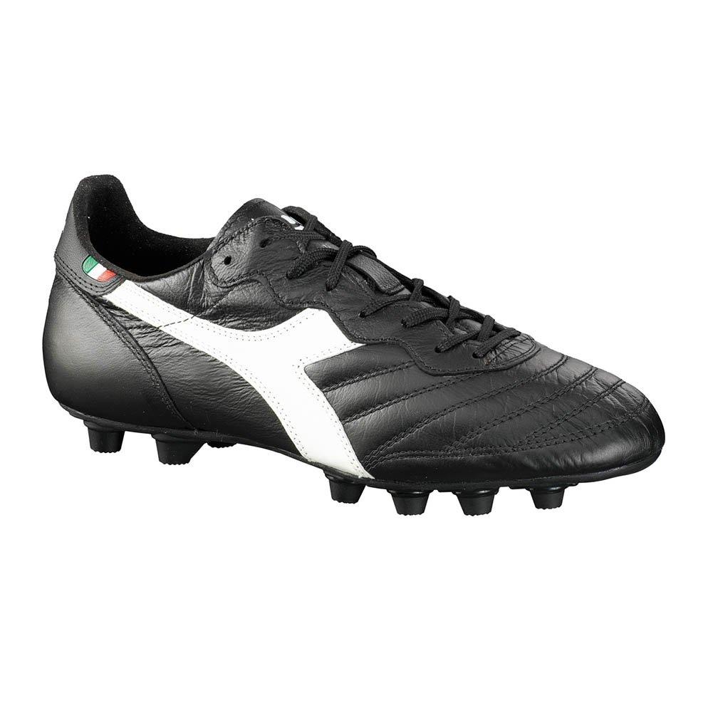 Diadora Men's Brasil Italy Lt MD Soccer Cleats, Black Calf Leather, Polyurethane, 8 M