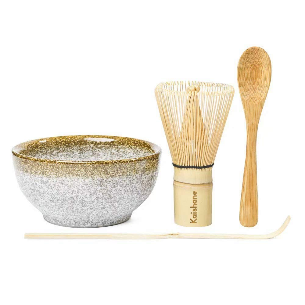 KAISHANE Japanese Matcha Whisk Set Matcha Tea Ceremony Set of 4 Including 100 Prong Matcha Whisk, Traditional Scoop, Tea Spoon and Ceramic Matcha Bowls