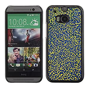 Soft Silicone Rubber Case Hard Cover Protective Accessory Compatible with HTC ONE? M8 2014 - blue spots pattern abstract colors