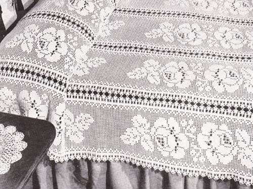 Floral Filet Crochet Bedspread Pattern - Kindle edition by Hollywood ...