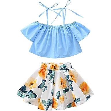 f463e4bd9924 Scfcloth Newborn Kids Baby Girls Spaghetti Straps Tops + Floarl Skirts 2pcs Outfits  Clothes Set Blue