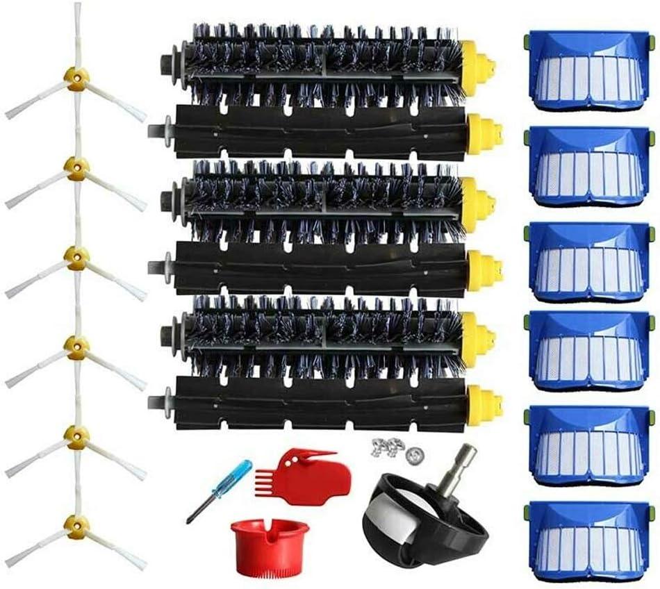 Kit de filtros de repuesto para aspiradora IRobot Roomba 600 614 650 660 675 680 690, incluye filtro/cepillo de limpieza/cubo de limpieza/tornillos/cepillo de rodillo/cepillo lateral, negro: Amazon.es: Bricolaje y herramientas