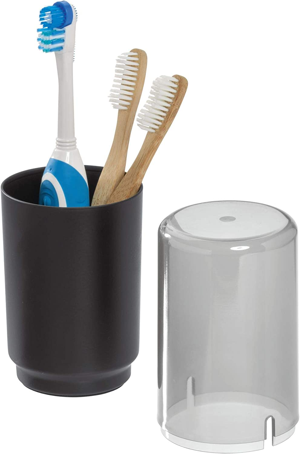 Idesign Austin Covered Holder Holds Regular And Electric Toothbrushes Home Kitchen