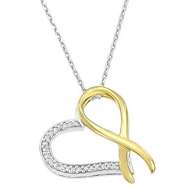 c83aded77e7b Original Classics Two-Tone Sterling Silver Round Cut Diamond Ribbon Heart  Pendant Necklace (1